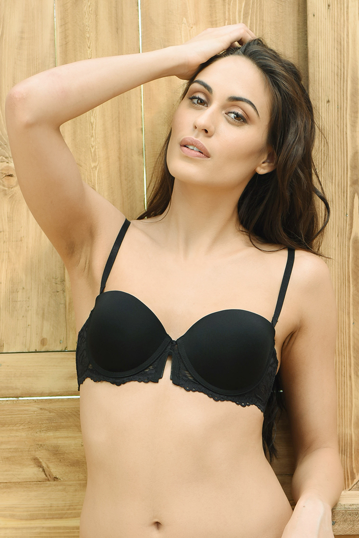 6e428b4577d11 Buy Zivame Lace Touch Moderate Lift Balconette Strapless Bra- Black at Rs.697  online